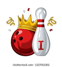 Vector illustration of bowling skittle and red bowling ball in golden crown, isolated on white background. Bowling award for 1st place. Champion 1.1