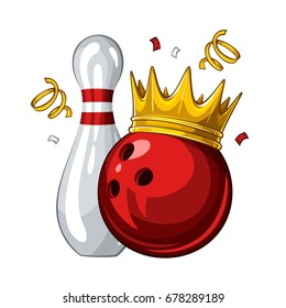 Vector illustration of bowling skittle and red bowling ball in golden crown, isolated on white background. Winner. Champion 1.1