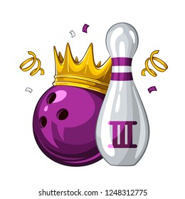 Vector illustration of bowling skittle and violet bowling ball in golden crown, isolated on white background. Bowling award for 3st place. Champion 1.1