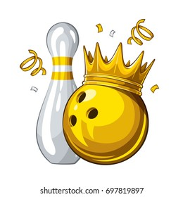 Vector illustration of bowling skittle and yellow bowling ball in golden crown, isolated on white background. Winner. Champion 1.1
