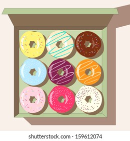 vector illustration of a box full of delicious donuts, adorned with different glazing, on light pink background