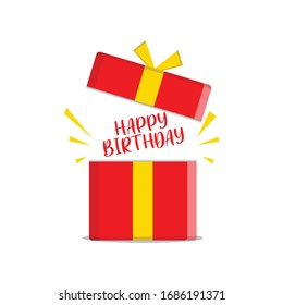 vector illustration of a box gift happy birthday gift, an open gift with a surprise