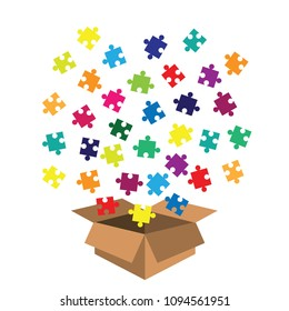vector illustration of box with jigsaw puzzle toy for kids and toddlers