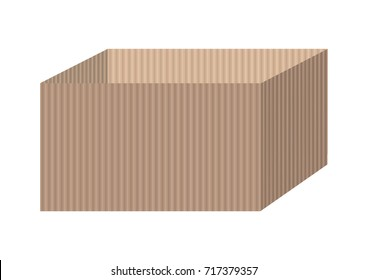 Vector illustration of box made of corrugated cardboard
