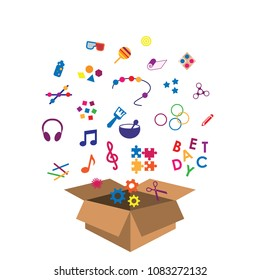 vector illustration of box with multisensory toys for kids and toddlers