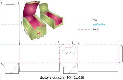 Vector Illustration of  box with preview and dimensions. Package Template. Isolated colored preview of retail mock up.