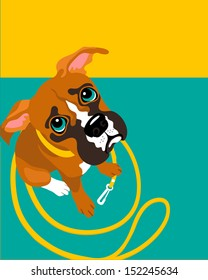 vector illustration of Boxer puppy with leash