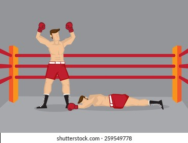 Vector illustration of a boxer standing in boxing ring with both hands raised and his opponent lying on the floor.