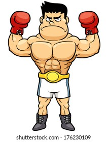 Vector illustration of Boxing champion