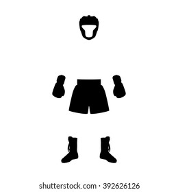 Vector illustration boxing equipment. Isolated silhouette on a white background.