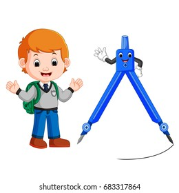 vector illustration of boy with architecture compass character