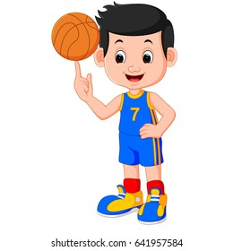 vector illustration of boy basketball player