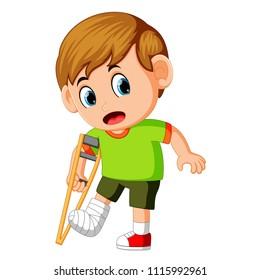 vector illustration of boy with broken leg
