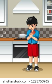 A vector illustration of Boy Burned His Hand In The Kitchen