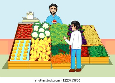 A vector illustration of Boy Buying Vegetables and Fruits at Farmers Market