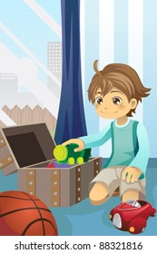 A vector illustration of a boy cleaning up his toys and putting them inside the toy chest