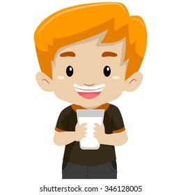 Vector minh họa của một cậu bé uống một ly sữa