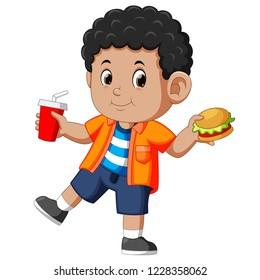 Vector illustration of Boy eating fast food