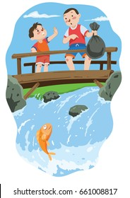 Vector illustration of A boy forbade another boy to throw garbage in the river. Great for Children Illustration.