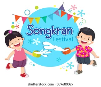 Vector illustration of boy and girl enjoy splashing water in Songkran festival, Thailand