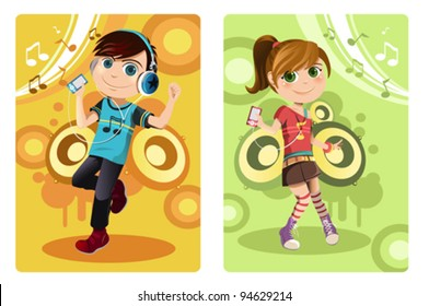 A vector illustration of a boy and a girl listening to music