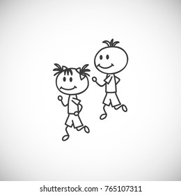 Vector illustration of boy and girl are running. Healthy lifestyle, cartoon doodle