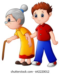 Vector illustration of Boy helps old lady and helping her to walk with her cane