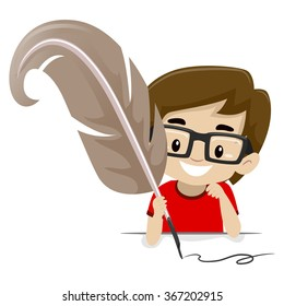 Vector illustration of a Boy holding a Quill pen
