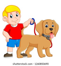 vector illustration of a boy is holding the red rope and standing beside the dog
