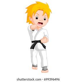 vector illustration of Boy Karate Player cartoon