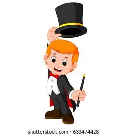 vector illustration of Boy Magician cartoon
