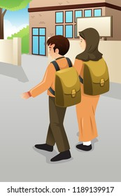 A vector illustration of Boy and Muslim Girl Students Walking to School