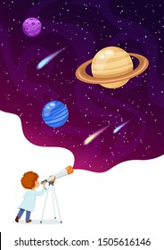 Vector illustration of boy observing space through telescope.