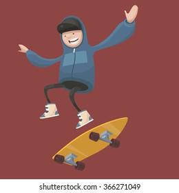 Vector illustration. Boy on  skateboard