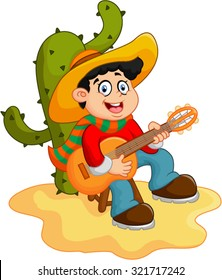 vector illustration of boy playing guitar