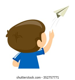 Vector Illustration of a Boy playing Paper Airplane