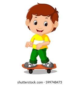 vector illustration of boy playing skateboard cartoon