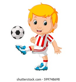vector illustration of boy playing soccer