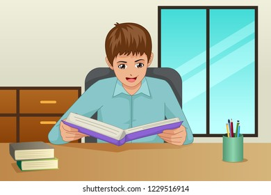 A vector illustration of Boy Reading a Book