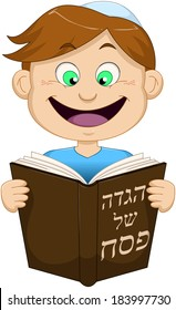 "Vector illustration of a boy reading from Haggadah of Passover. The title on the front cover says ""Haggadah of Passover""."