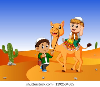 vector illustration of the boy ridding a camel in the wasteland and the a men guide the camel