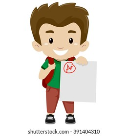 Vector Illustration of a Boy showing his A plus Exam