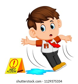 vector illustration of boy slipping on wet floor