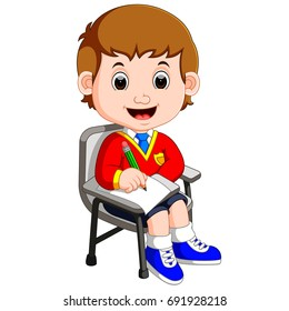 vector illustration of boy student studying and writing