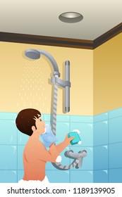 A vector illustration of Boy Taking Shower
