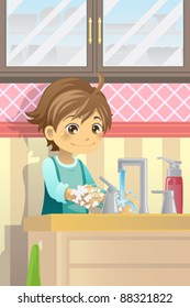 A vector illustration of a boy washing his hands