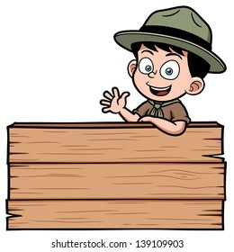 Vector illustration of Boy with wooden board