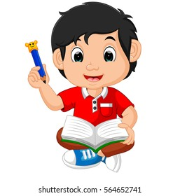 vector illustration of Boy writing and drawing. Funny cartoon