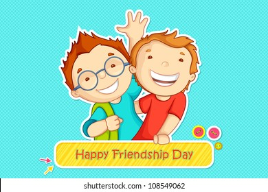 vector illustration of boys greeting on friendship day