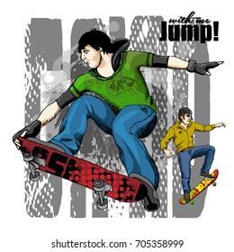 Vector illustration of boys with a skateboard. Hand drawn illustration of skateboarders